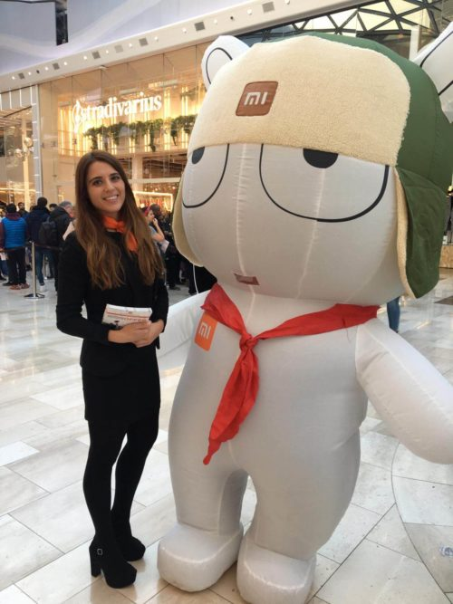 Xiaomi UK Westfield store launch promotional staff and mascot