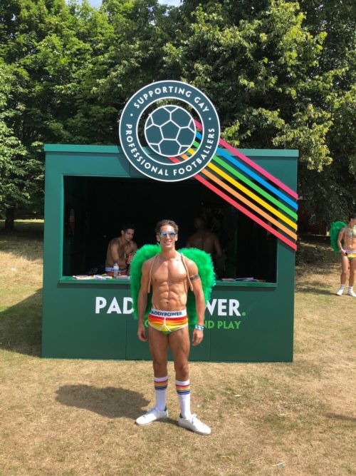 Elpromotions male model at Brighton Pride 2018 for Paddy Power