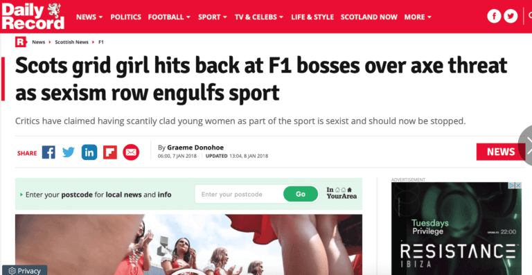daily record F1 grid girls banned carolyn elpromotions agency