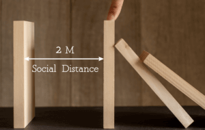 graphic for social distance and virtual event staff
