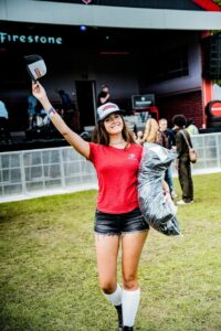 female promotional model hostess at firestone europe activation in London